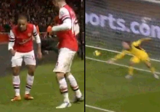 Arsenal 2-2 Liverpool (Walcott's celebration)